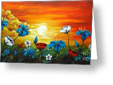 Poppies And Iris Greeting Card by Uma Devi