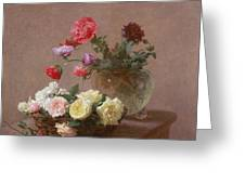 Poppies In A Crystal Vase - Or Basket Of Roses Greeting Card