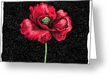 Poppy Flower, Woodcut Greeting Card