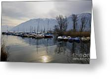 Port With Snow-capped Mountain Greeting Card