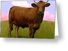 Portrait Of A Cow Greeting Card by Snake Jagger