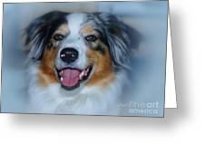 Portrait Of A Dog Lady Greeting Card