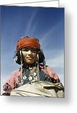 Portrait Of A Nomadic North African Greeting Card by Maynard Owen Williams