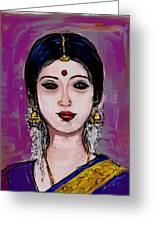 Portrait Of An Indian Woman Greeting Card