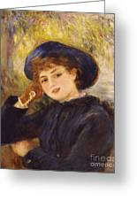 Portrait Of Mademoiselle Demarsy Greeting Card by Pierre Auguste Renoir