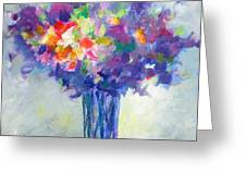 Posy In Lavender And Blue - Painting Of Flowers Greeting Card