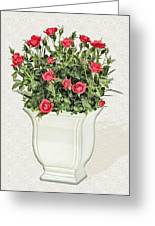 Pot Of Red Roses On Lace Background Greeting Card
