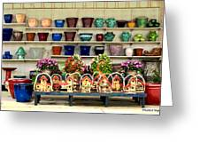 Pots And Birdhouses Greeting Card