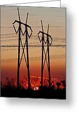 Power Towers At Sundown Greeting Card