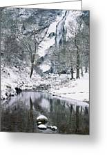 Powerscourt Waterfall In Winter, County Greeting Card