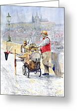 Prague Charles Bridge Organ Grinder-seller Happiness  Greeting Card