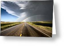Prairie Hail Storm And Rainbow Greeting Card