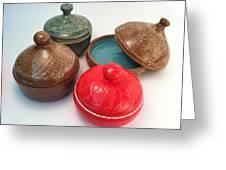 Prayer Pots Greeting Card by Carolyn Coffey Wallace