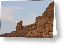 Praying Monk With Halo Camelback Mountain Greeting Card
