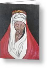 Praying Woman-oil Painting Greeting Card by Rejeena Niaz