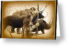 Prehistoric Man And Friends Greeting Card