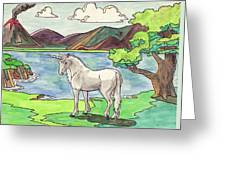 Prehistoric Unicorn Greeting Card