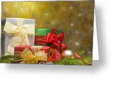 Presents Decorated With Christmas Decoration Greeting Card