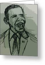 President Barack Obama Greeting Card by William Winkfield