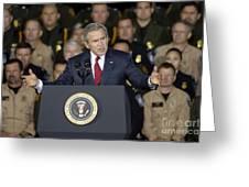 President George W. Bush Speaks Greeting Card by Stocktrek Images