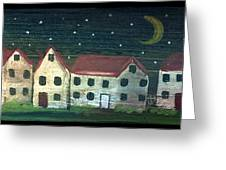 Prim Houses All In A Row Greeting Card