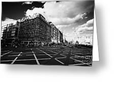 Princes Street And St David Street South With Tram Lines And Old Waverly Hotel Edinburgh Scotland Uk Greeting Card by Joe Fox