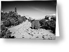 Princes Street Gardens On A Hot Summers Day In Edinburgh Scotland Uk United Kingdom Greeting Card