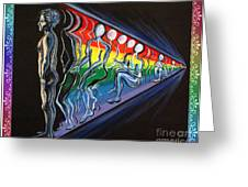 Projection With Rainbow Scroll Border Greeting Card