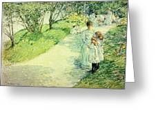 Promenaders In The Garden Greeting Card