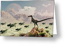 Protoceratops Stampede In Fear Greeting Card