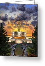 Provo Temple Evening Greeting Card