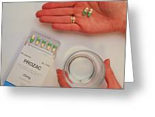 Prozac Pack With Pills In Hand And Glass Of Water Greeting Card