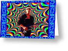 Psychedelia Within A Blue Framework Greeting Card