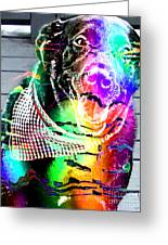 Psychedelic Black Lab With Kerchief Greeting Card