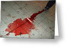 Puddle Of Red Wine On The Floor Greeting Card