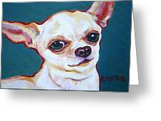 White Chihuahua - Puddy Greeting Card