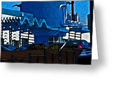 Pueblo Downtown Blue Abstract Greeting Card