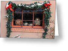 Pueblo Pottery Winter Window Greeting Card