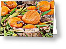 Pumpkin And Corn Combo Greeting Card