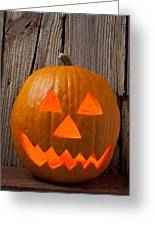 Pumpkin With Wicked Smile Greeting Card