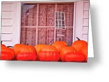 Pumpkins Curtains Red Barn Greeting Card