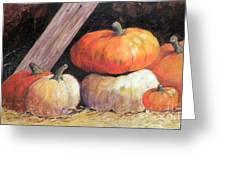 Pumpkins In Barn Greeting Card