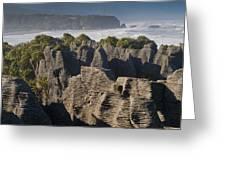 punakaiki pancake rock New Zealand Greeting Card