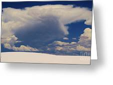 Pure White Sand And Mountain Storms Greeting Card