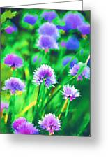 Purple And Green Chive Watercolor Greeting Card