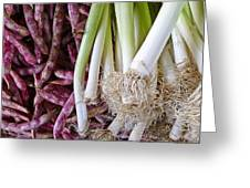 Purple Beans And Green Onions Greeting Card