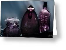 Purple Bottles In A Window Greeting Card