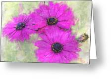 Purple Daisy Trio Watercolor Photoart Greeting Card