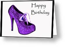 Purple Glitter Pump Greeting Card