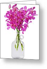 Purple Orchid In Bottle Greeting Card by Atiketta Sangasaeng